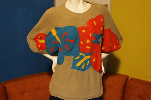 Chaus Woman Vintage Knit Short Sleeve Sweater Shirt. Colorful Design. 80's