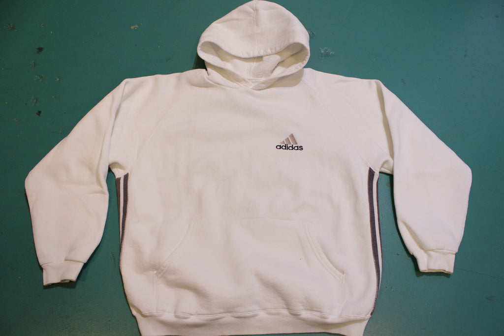 Adidas White Striped Made in USA Vintage 90's Crewneck Hoodie Sweatshirt