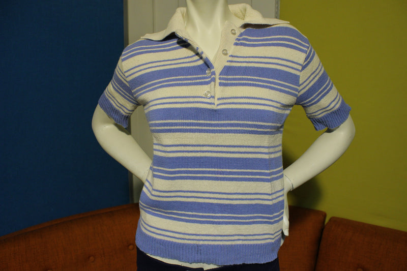 70's Striped 100% Cotton Vintage Short Sleeve Women's Polo Shirt.  Knit Blue and White.