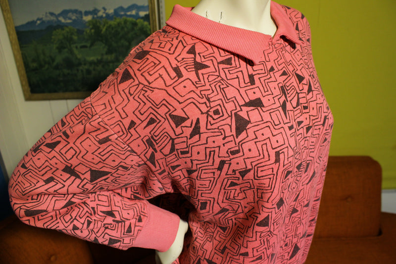 Pink In Living Color Abstract Design Sweatshirt. Vintage 80's 90's Long Sleeve Shirt.