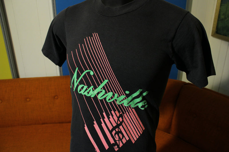 Nashville Vintage Screen Stars Tee.  Fluorescent Hot Pink Green Music City T-Shirt.