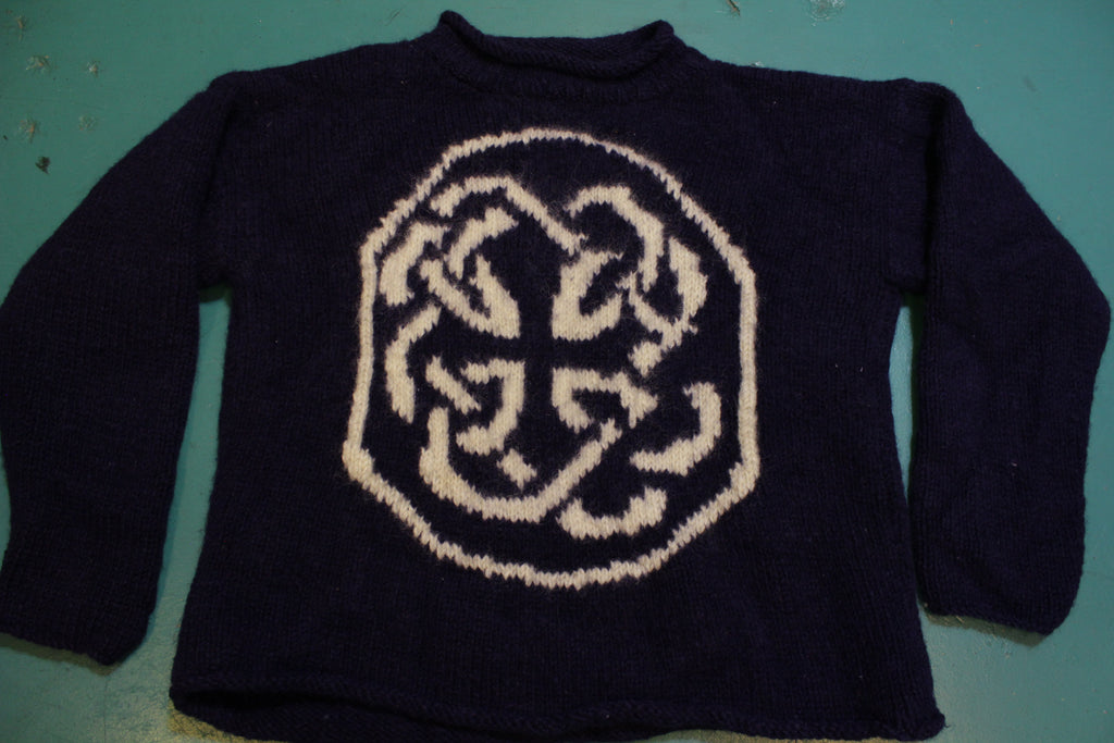 Nepal Vintage Hand Made 100% Imported Wool Sweater Mountain Climbing