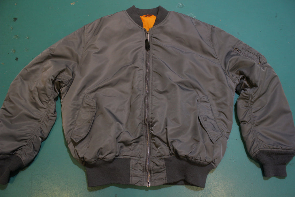 Alpha Industries Vtg MA-1 Flight Bomber Jacket Official Grey Orange USA Made Coat