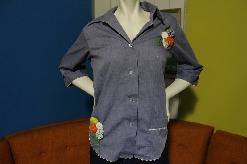 Little House Creations Vintage Chambray Button Up Chore Shirt & Garden Flowers