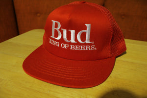Bud King of Beers Vintage Mesh Snapback Trucker Budweiser Hat USA Made