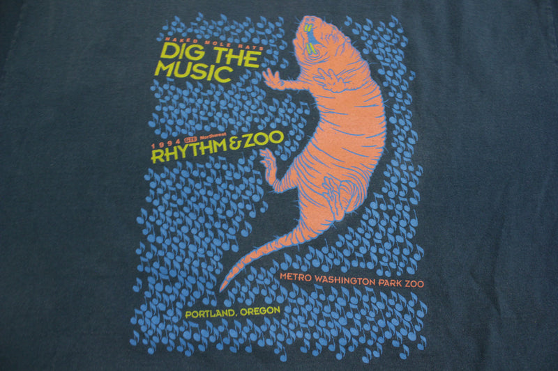 Rhythm & Zoo Dig The Music Metro Washington Park Zoo Portland 1994 Vintage T-Shirt