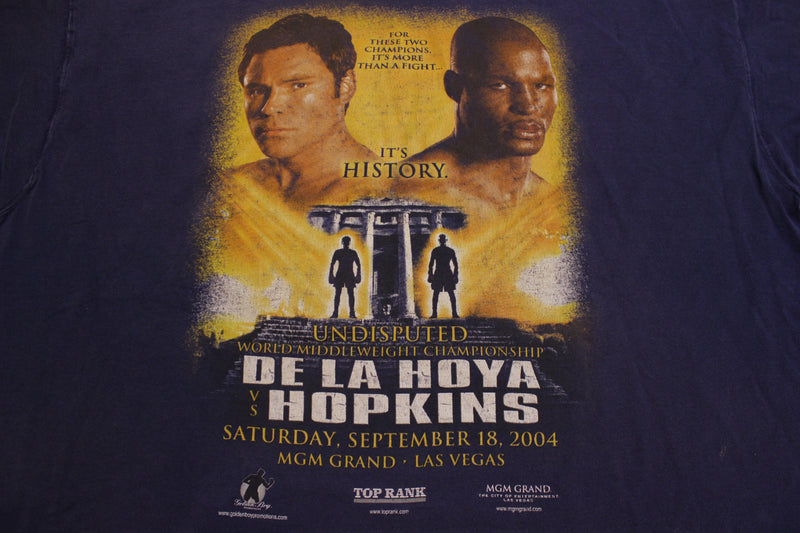 Oscar De La Hoya Hopkins Boxing Vegas Fight Shirt Vintage 2004 MGM Tee