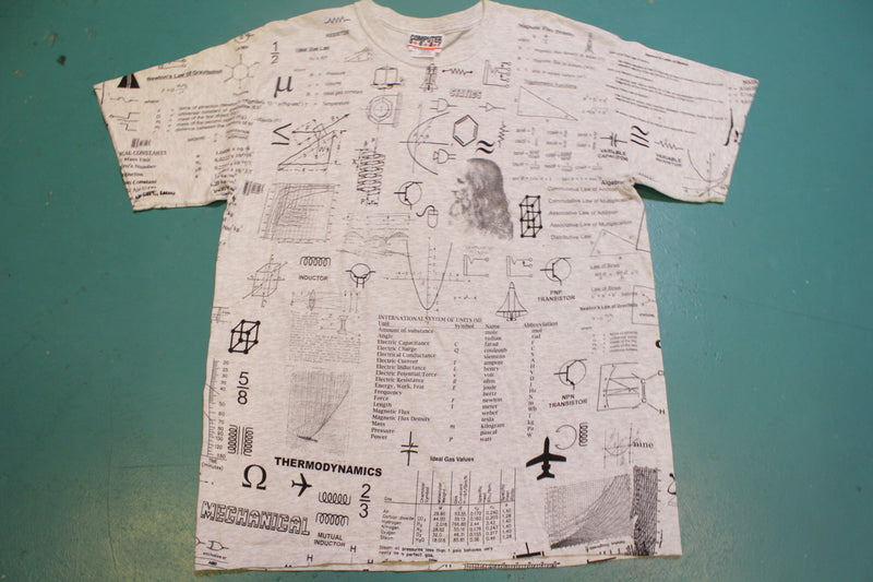 Mathematics Science All Over Print Leonardo Da Vinci Vintage 90's T-Shirt