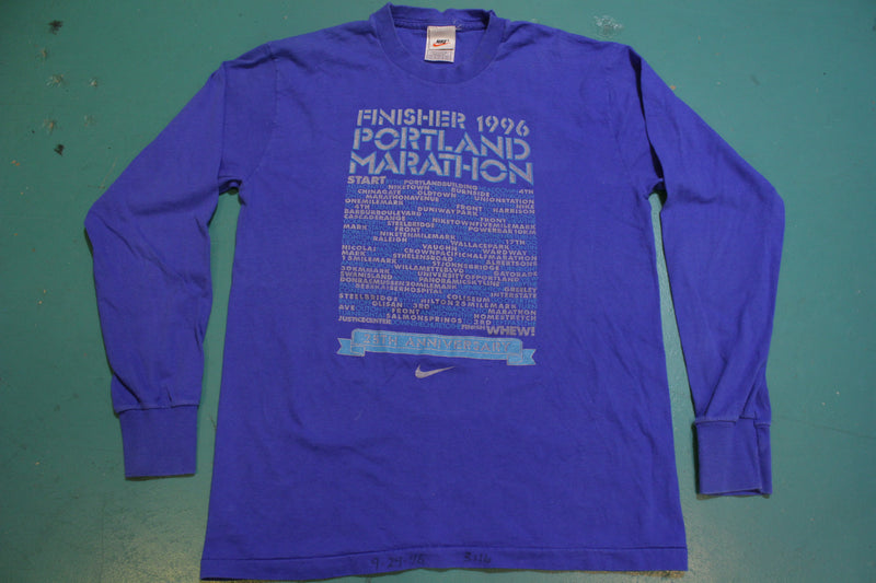 90's Made in USA Nike Tag Portland Marathon Finisher 1996 Long Sleeved T-shirt