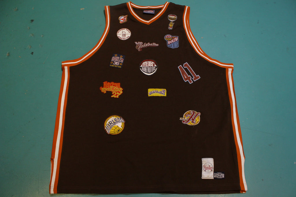 Harlem Globetrotters Brown Multi Patch 41 Fubu Platinum Jersey 4XL