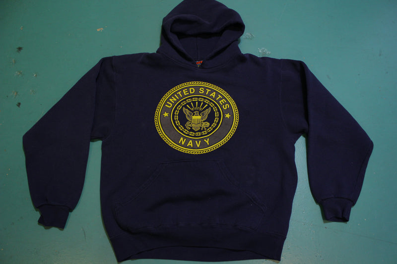 SOFFE 50/50 Hoodie Sweatshirt Blue US Navy USN Reflective Hooded Vintage 80's