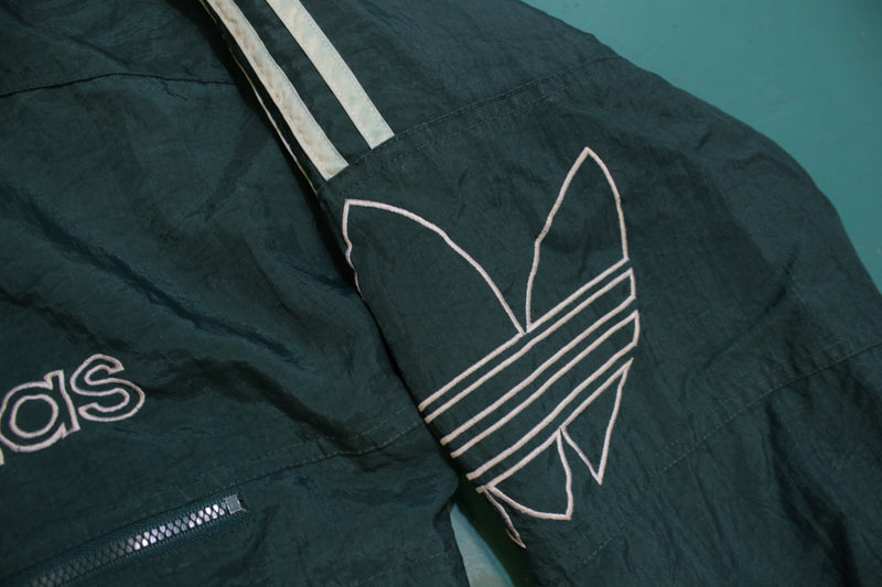 Adidas Green and White Vintage 90's Colorblock Trefoil Logo Puffy Hoodie Jacket