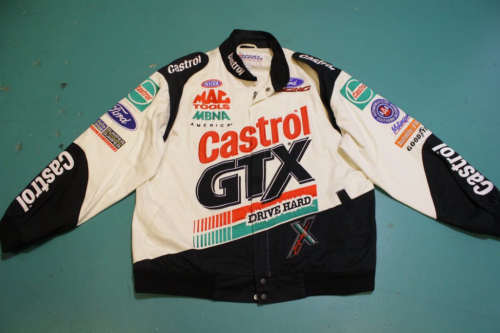 John Force Racing Castrol Ford Mac Tools Vintage 90's NHRA Funny Car Jacket