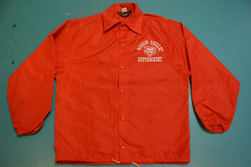 Moscow Student Government Vintage 80's Fire Engine Red Windbreaker