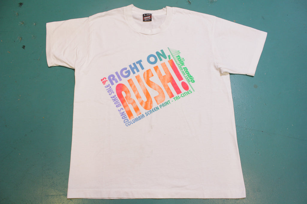 Right On Rush Limbaugh 1993 AM Talk Radio Vintage 90's Single Stitch T-Shirt