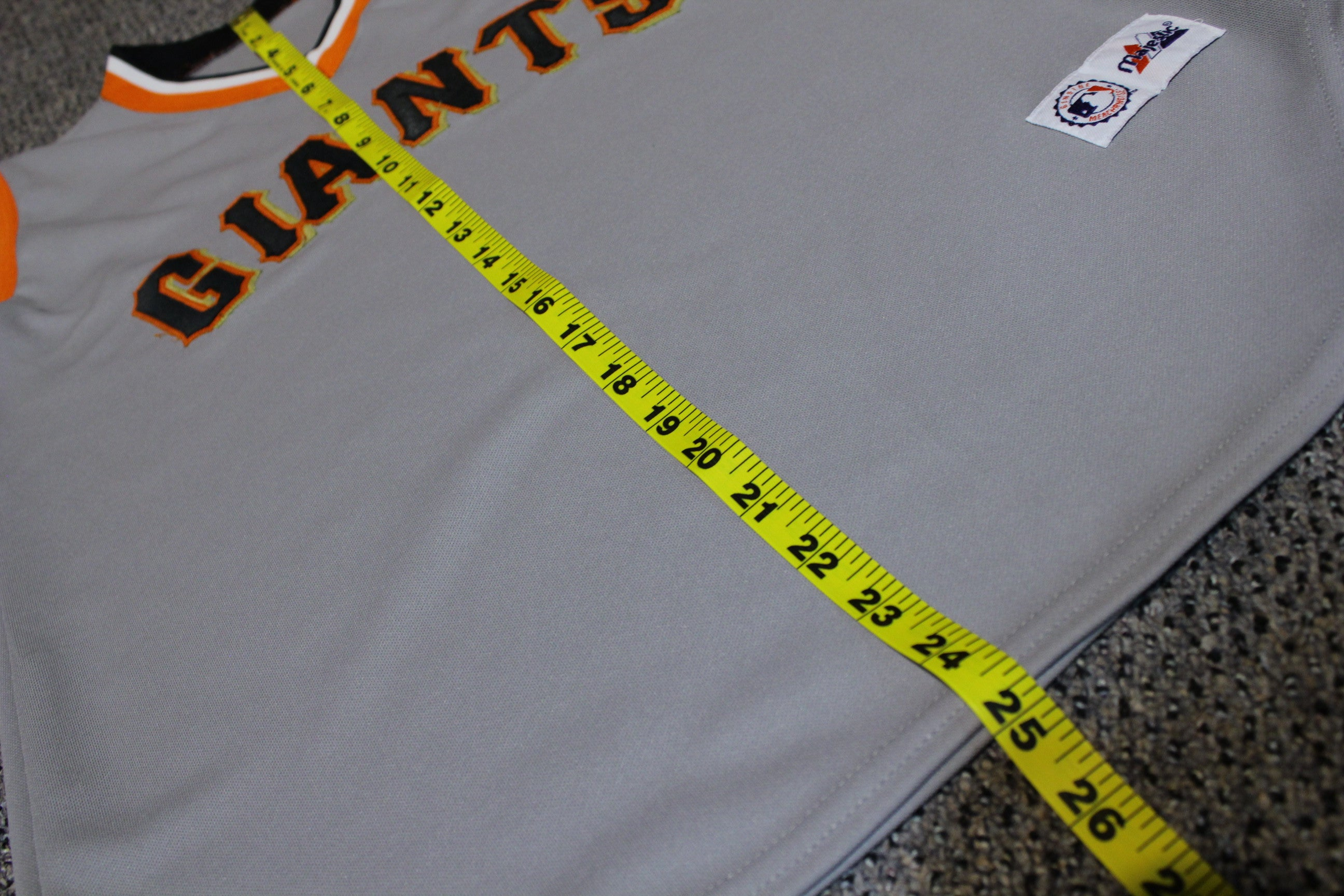 San Francisco Giants Vintage Sleeveless Grey Majestic MLB Jersey. Retro Tank Top.