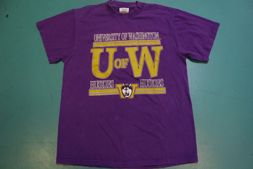 U of W University of Washington Huskies Vintage 90's College T-Shirt
