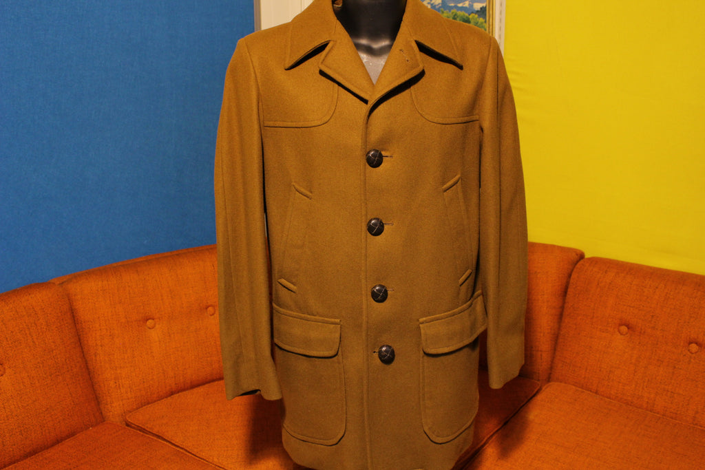 1950s Pendleton Vintage Wool Car Coat.  Brown Long Jacket Lined NWOT Medium
