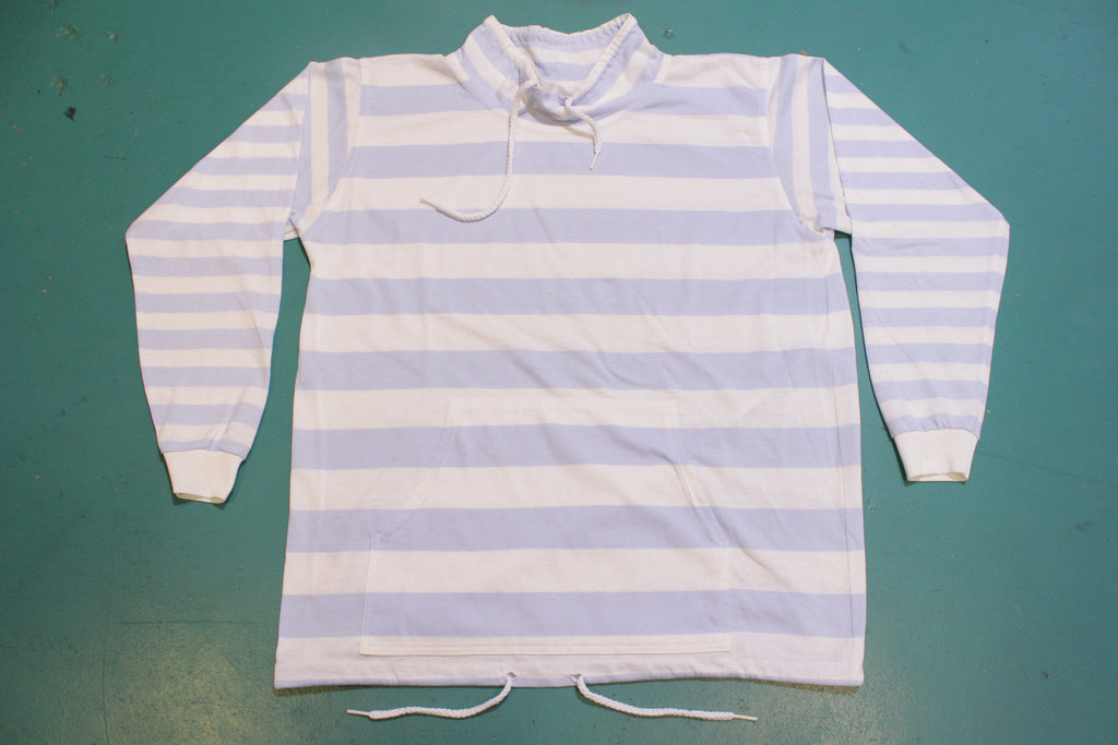 Lana D New York Made in USA Vintage 80s Mock Collar Striped Long Sleeve Pocket Shirt