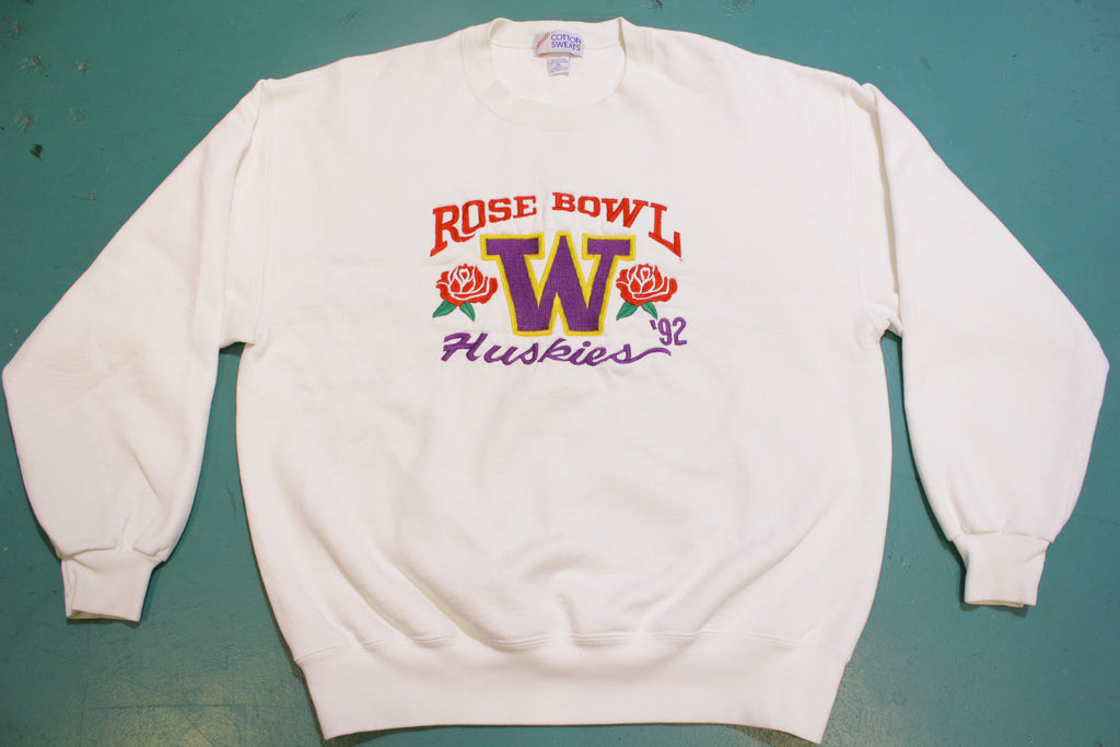 U of W Huskies 1992 Rose Bowl Vintage Embroidered Crew Neck 90's Sweatshirt