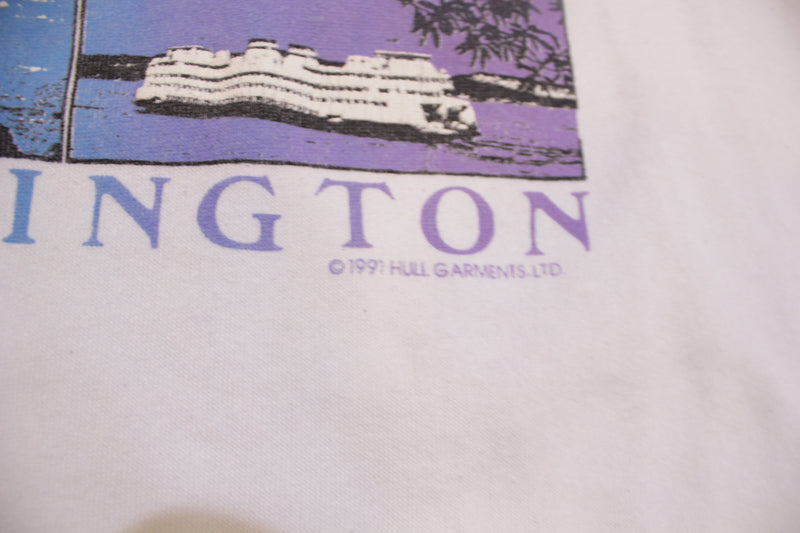 Washington Mt. Rainier Ferry Bald Eagle Hull Garments 1991 Crew Neck 90's Sweatshirt