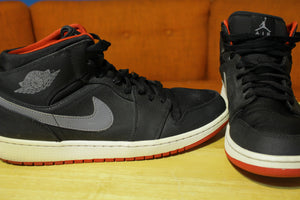 Nike Air Jordan 1 Mid 554724-004 Black Gym Red Cool Grey Mens US Size 12