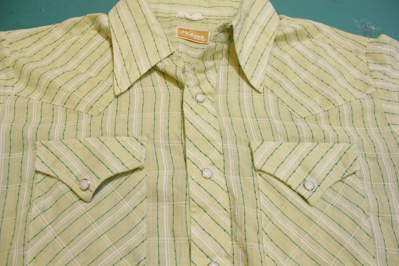 Ely Plains Rider USA Vintage Pearl Snap Western Button Up Cowboy Shirt