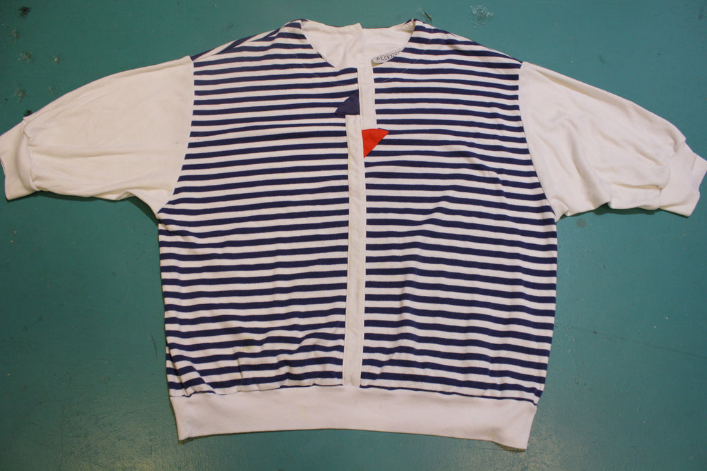 Accents by Joyce Vintage 80's Striped Nautical Red White Blue Shirt