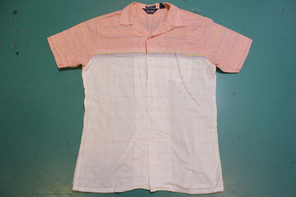 Par Four Sportswear Vintage 80's Button Up Short Sleeve Striped Golf Shirt