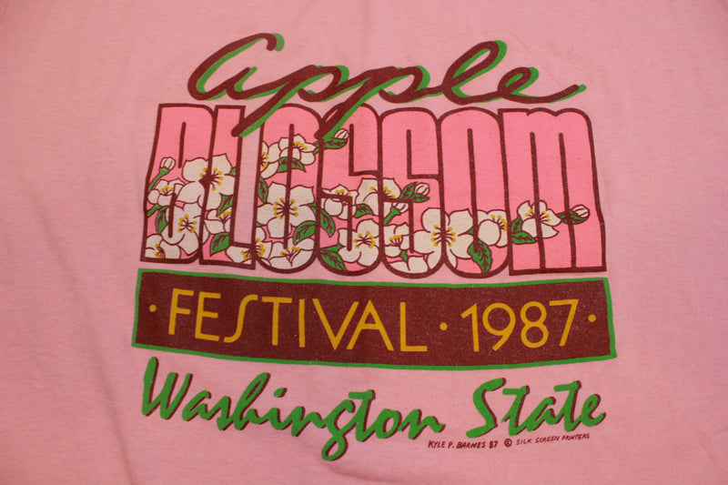 Apple Blossom Festival 1987 Washington State Kyle Barnes 80's Single Stitch T-Shirt