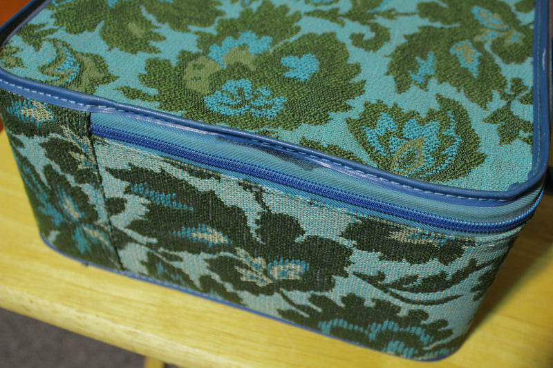 1960's 1970's Vintage Fabric Floral Small Suitcase