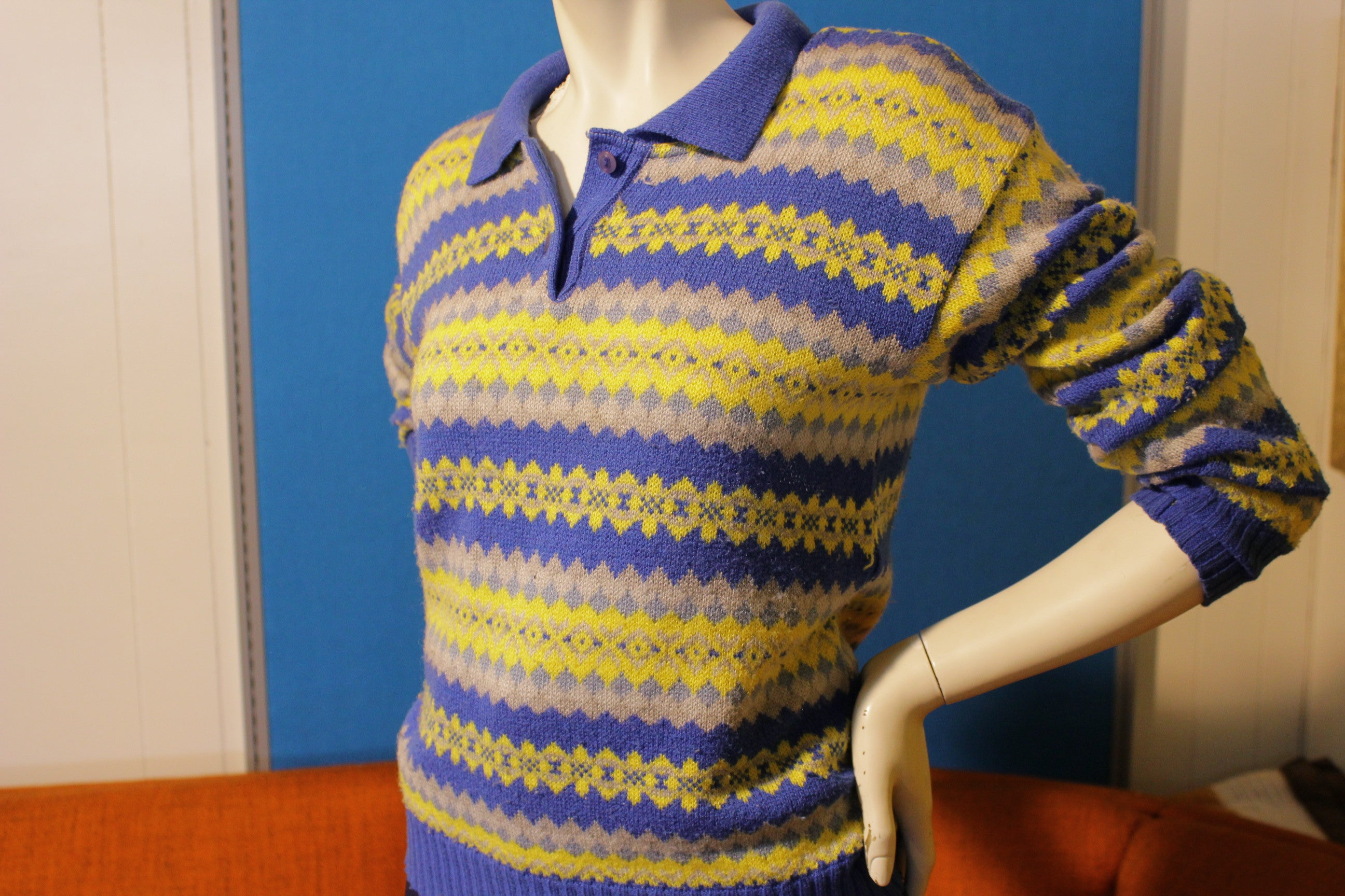 Vintage 70's Blue Yellow Polo Knit Sweater. Striped Women's Long Sleeve Top.