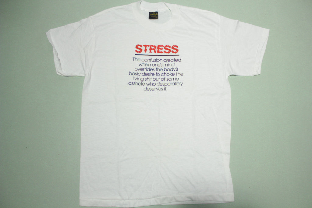 Stress Asshole Vintage 80's Touch of Gold USA Single Stitch White T-Shirt