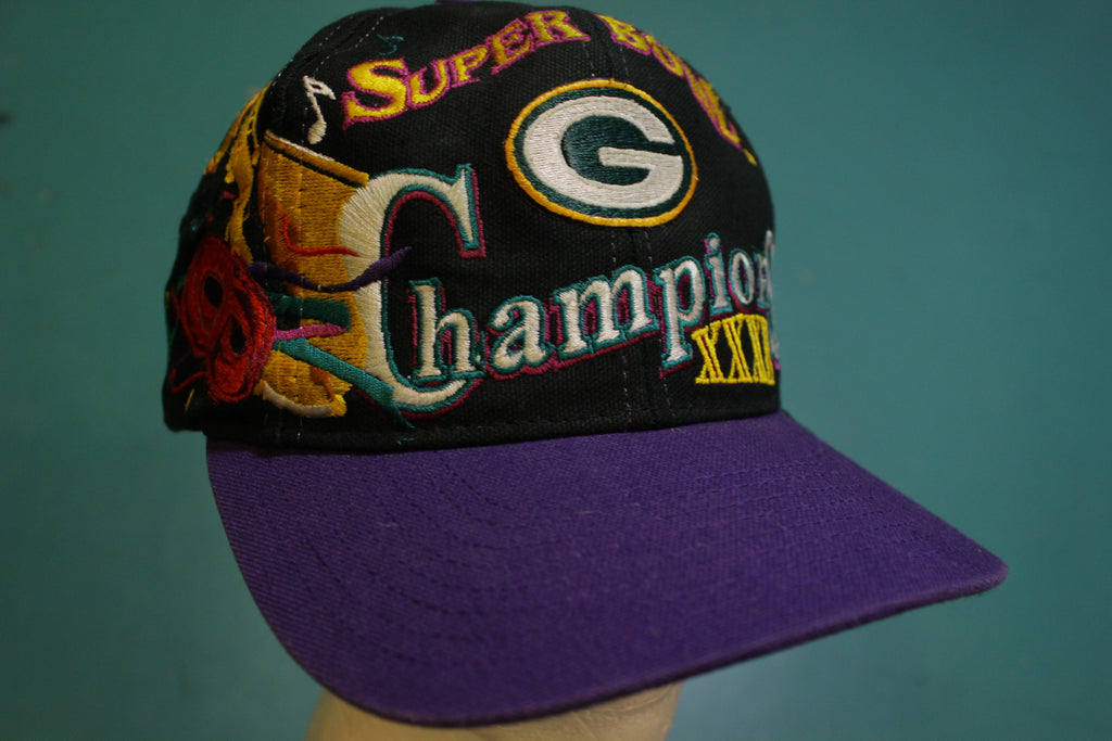 Super Bowl XXXI 31 Greenbay Packers Champs 90's Vintage Snapback 1996 Cap Hat