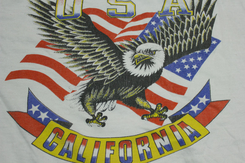 California USA Bald Eagle American Flag Patriotic Vintage Single Stitch 90's T-Shirt