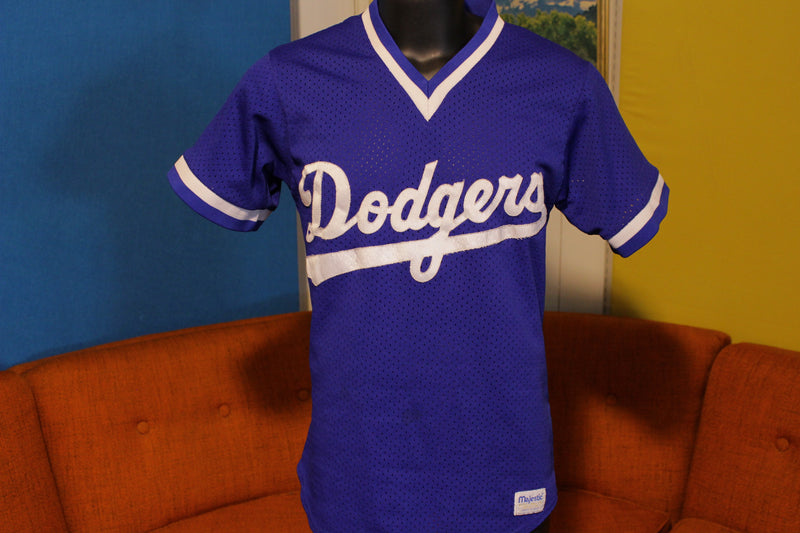 L.A. Dodgers Vintage Pullover V-Neck Mesh Jersey. Blue Majestic Official USA Made