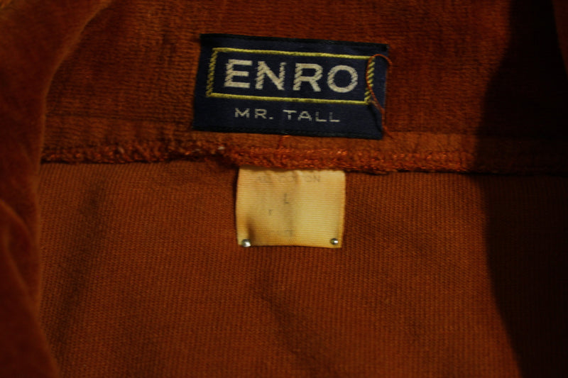 Velour 70's  Enro Mr. Tall Long Sleeve Shirt. Vintage Velvet.