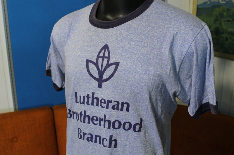 Lutheran Brotherhood Branch 70's Cult Blue Heathered Ringer Screen Stars T-Shirt