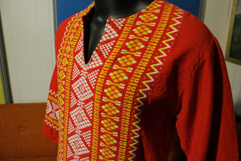 Indian Embroider Thread Caftan Tunic Shirt Dress Men Women Ethnic Vtg Dashiki