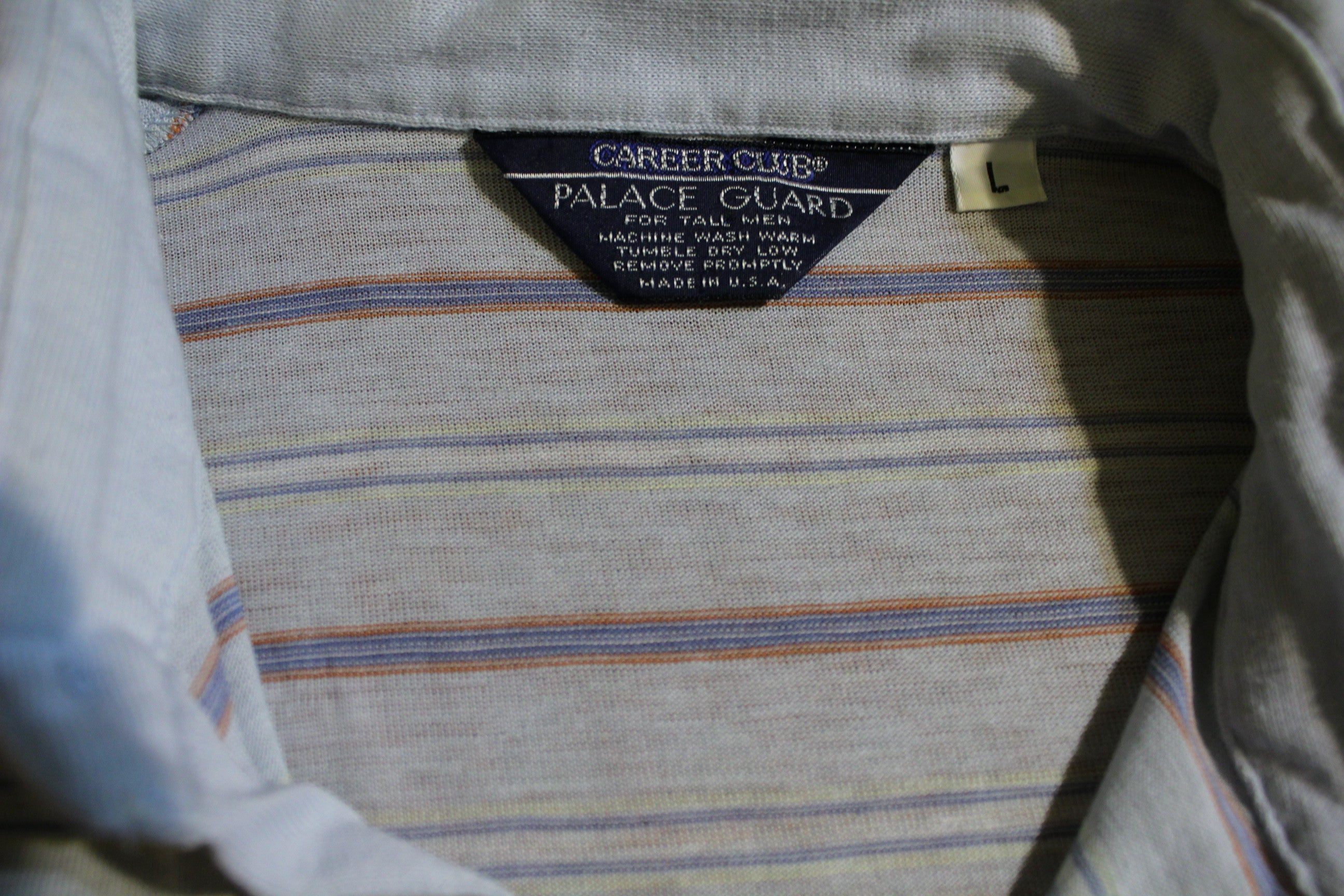 Career Club Palace Guard Vintage Tall Polo Shirt. 1980's Striped Large.