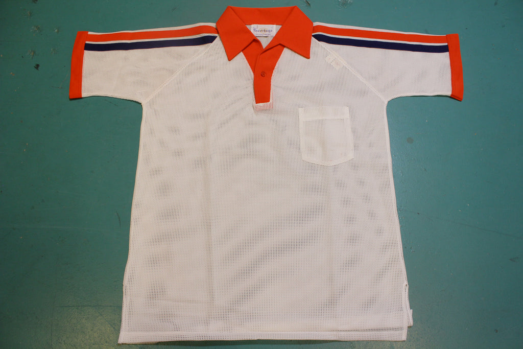 Heritage Sportswear Made In USA Vintage Mesh Air 1970's Tennis Disco Polo Shirt