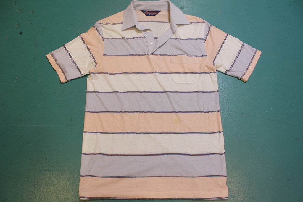 Tournament Arrow Striped 80's Vintage Tennis Golf Single Stitch Polo Shirt