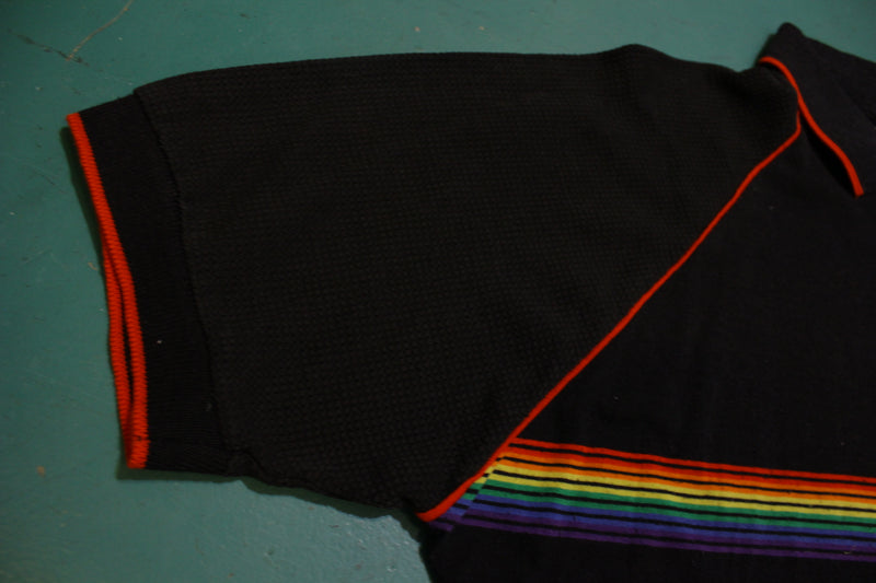 Traxx Rainbow Striped 80's Vintage Tennis Golf Single Stitch Polo Shirt