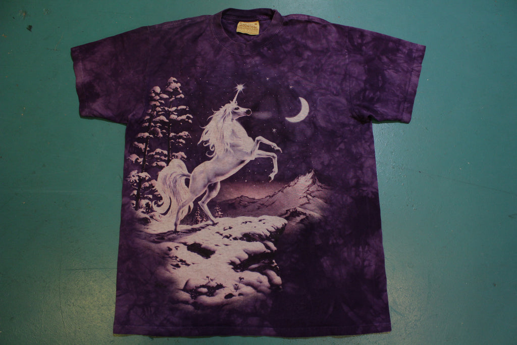 Unicorn Arctic Moon Tie Dye Made in USA Vintage Single Stitch T-Shirt