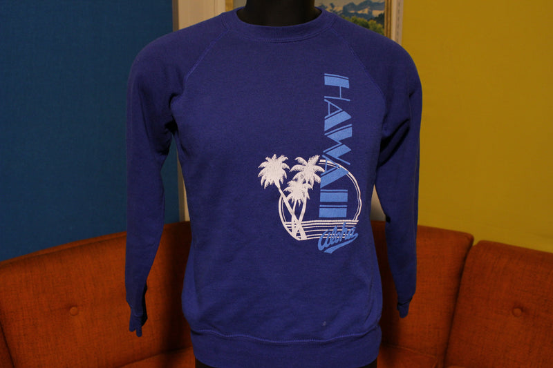 Hawaii Aloha Vintage Bassett Walker 80's Sweatshirt. Medium Blue Beach.