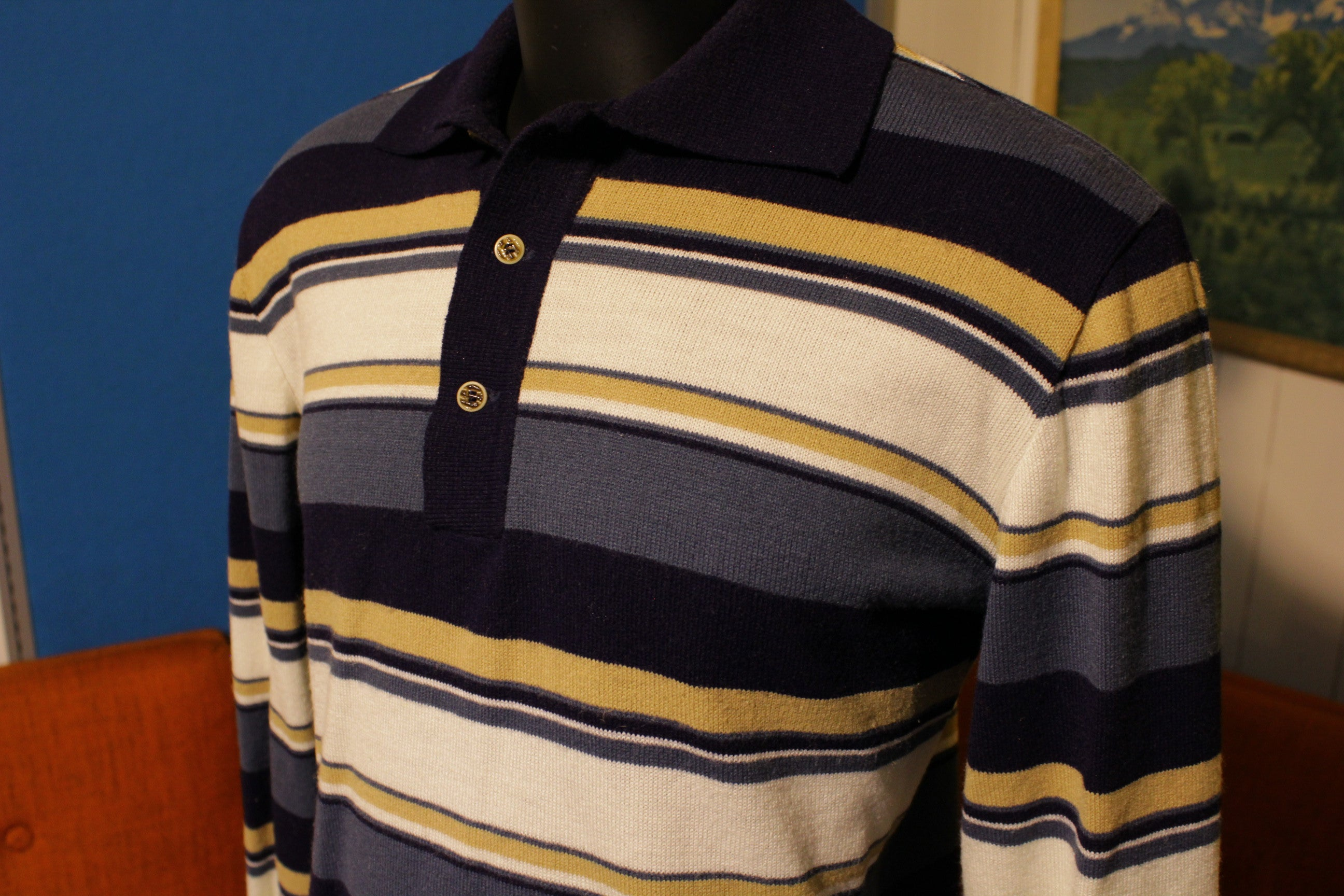 The Bon Vintage Striped 70's Long Sleeve Polo Knit Sweater Shirt.