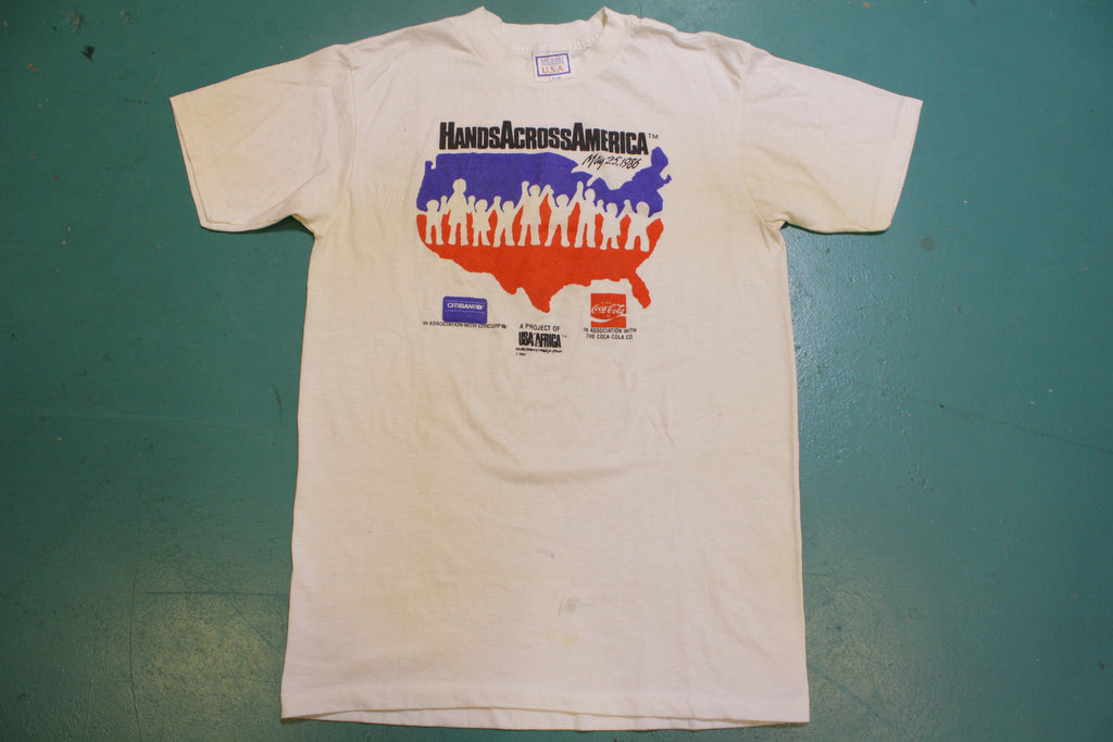 Hands Across America Africa 1986 Coke United 80's Vintage Single Stitch T-Shirt