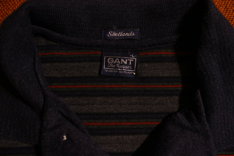 Gant Vintage Rugger Shetlands Striped Long Sleeve Polo Knit Shirt