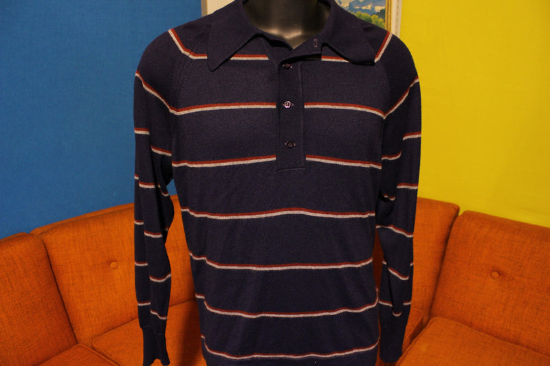 Lord Jeff Royal Garfinckels Striped Long Sleeve Polo Knit Shirt 70s