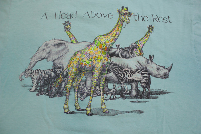 Serigraphia 1986 Zoo Gallery Art Print Giraffe 80's Vintage Single Stitch T-Shirt